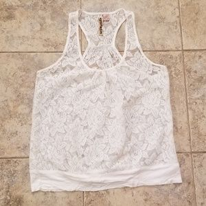 Eyeshadow Great Cond. Lace Floral Halter Tank Top
